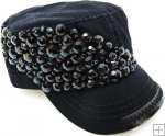 Black Abstract Gem Beaded Bling Hand Detail Stitched Cadet