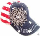 XL Handmade Glassbead Flower On USA BB Cap