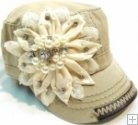Bling Flower Hand detail Stitched Cadet-Khaki Color